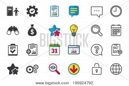 Human resources icons. Checklist document sign. Money bag and gear symbols. Man at the door. Chat, Report and Calendar signs. Stars, Statistics and Download icons. Question, Clock and Globe. Vector