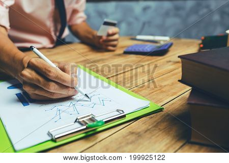 Financial Businessman Hands Working Hard Tax Audit Service Calculating For Small Business And Online