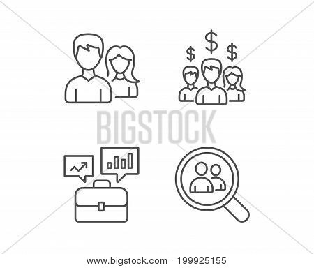 Business Networking, Portfolio case and Find a Job line icons. Group, Earnings and Growth chart signs. Quality design elements. Editable stroke. Vector