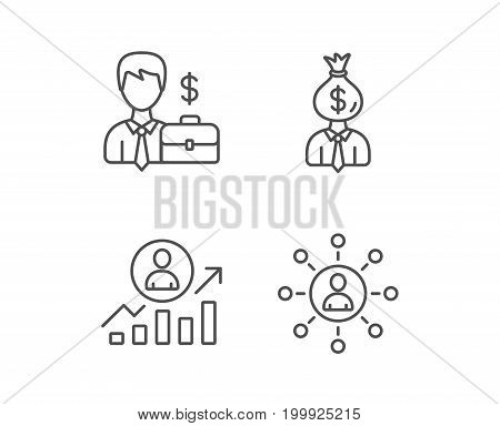 Business Networking, Portfolio and Job results line icons. Businessman, Earnings and Growth chart signs. Quality design elements. Editable stroke. Vector