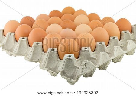 Eggs in a carton isolated on a white background