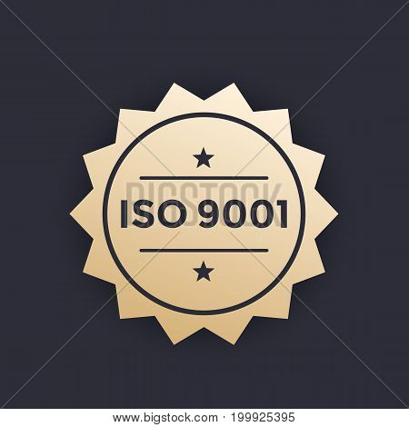 ISO 9001 badge, vector label, eps 10 file, easy to edit