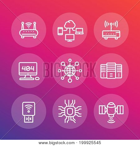 network, internet data technology line icons set, server, usb modem, router, cloud computing