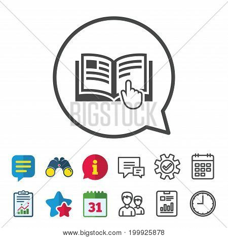 Instruction sign icon. Manual book symbol. Read before use. Information, Report and Calendar signs. Group, Service and Chat line icons. Vector