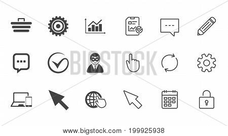 Internet, seo icons. Tick, online shopping and chart signs. Anonymous user, mobile devices and chat symbols. Chat, Report and Calendar line signs. Service, Pencil and Locker icons. Vector