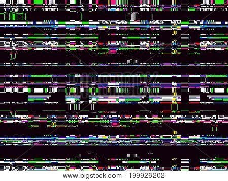 Glitch background. Computer screen error. Digital pixel noise abstract design. Video game glitch. Television signal fail. Data decay. Technical problem grunge wallpaper.