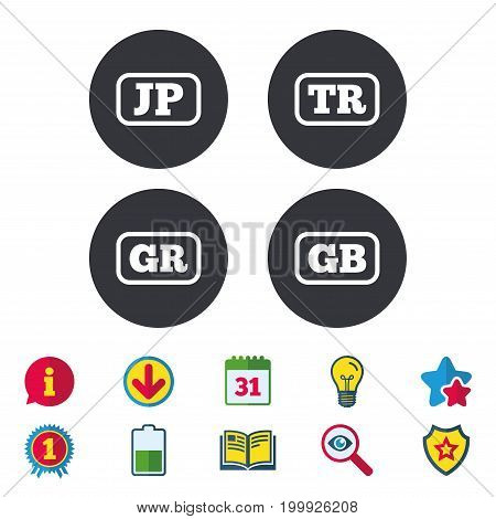 Language icons. JP, TR, GR and GB translation symbols. Japan, Turkey, Greece and England languages. Calendar, Information and Download signs. Stars, Award and Book icons. Light bulb, Shield and Search