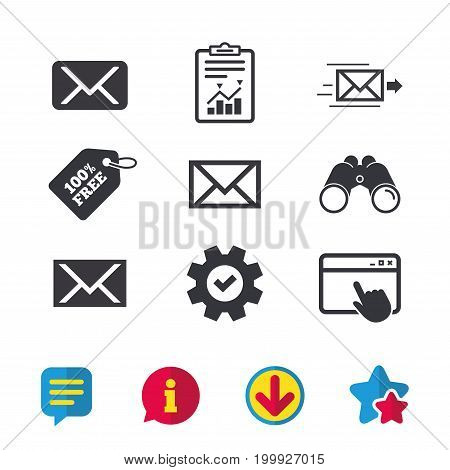 Mail envelope icons. Message delivery symbol. Post office letter signs. Browser window, Report and Service signs. Binoculars, Information and Download icons. Stars and Chat. Vector