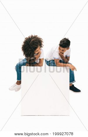 African American Siblings Sitting Together
