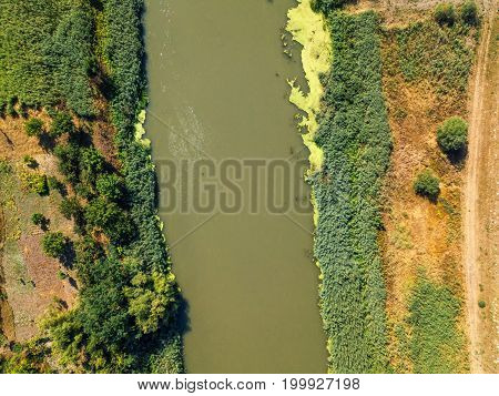 Aerial view of the river from drone point of view