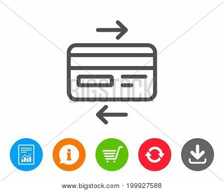 Credit card line icon. Bank payment method sign. Online Shopping symbol. Report, Information and Refresh line signs. Shopping cart and Download icons. Editable stroke. Vector