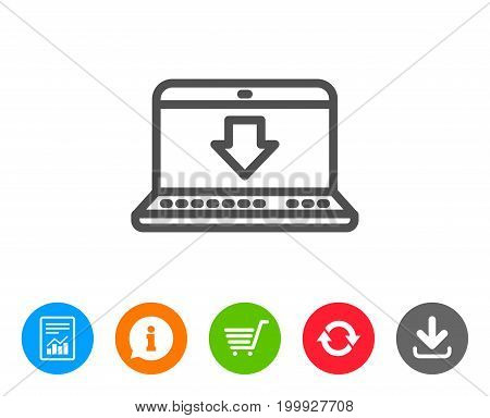 Download line icon. Internet Downloading with Laptop sign. Load file symbol. Report, Information and Refresh line signs. Shopping cart and Download icons. Editable stroke. Vector