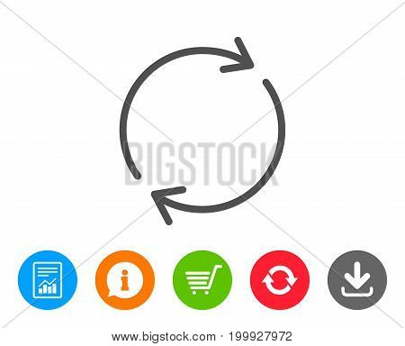 Refresh line icon. Rotation arrow sign. Reset or Reload symbol. Report, Information and Refresh line signs. Shopping cart and Download icons. Editable stroke. Vector