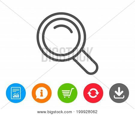 Search line icon. Magnifying glass sign. Enlarge tool symbol. Report, Information and Refresh line signs. Shopping cart and Download icons. Editable stroke. Vector