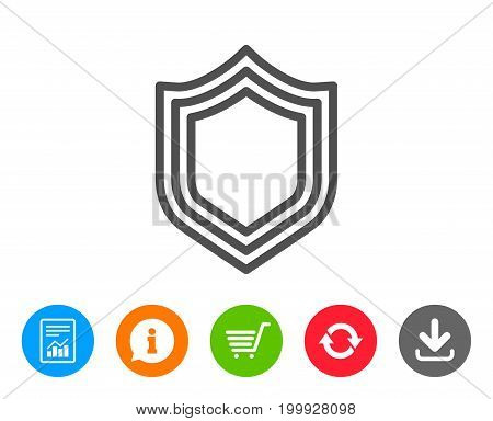 Shield line icon. Protection or Security sign. Defence or Guard symbol. Report, Information and Refresh line signs. Shopping cart and Download icons. Editable stroke. Vector