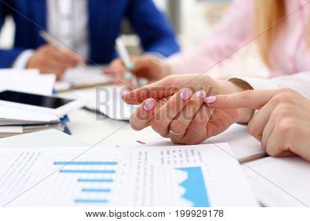 Female arm count on finger while solve and discuss problem closeup. Fresh view at situation board council sale adviser examine profit audit job stock exchange market participate concept poster