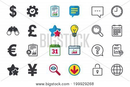 Dollar, Euro, Pound and Yen currency icons. USD, EUR, GBP and JPY money sign symbols. Chat, Report and Calendar signs. Stars, Statistics and Download icons. Question, Clock and Globe. Vector