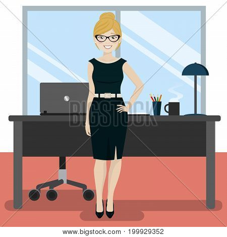 Cute secretary at the office with laptop and coffee. Vector illustration