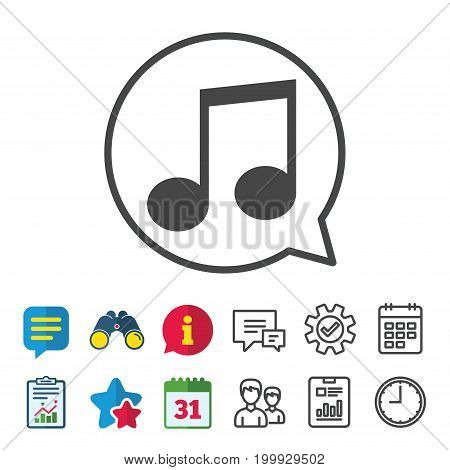 Music note sign icon. Musical symbol. Information, Report and Calendar signs. Group, Service and Chat line icons. Vector