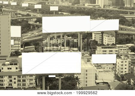 Blank Billboard For Advertisement Concept Background With Top View Cityscape.