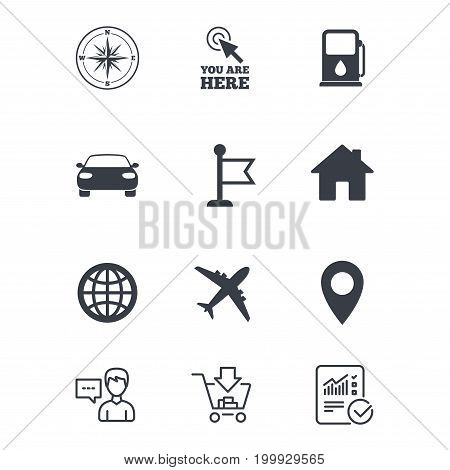 Navigation, gps icons. Windrose, compass and map pointer signs. Car, airplane and flag symbols. Customer service, Shopping cart and Report line signs. Online shopping and Statistics. Vector