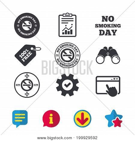 No smoking day icons. Against cigarettes signs. Quit or stop smoking symbols. Browser window, Report and Service signs. Binoculars, Information and Download icons. Stars and Chat. Vector