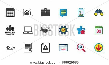 Office, documents and business icons. Human resources, handshake and download signs. Chart, laptop and calendar symbols. Calendar, Report and Download signs. Stars, Service and Search icons. Vector