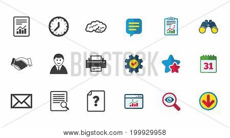 Office, documents and business icons. Deal, mail and businessman signs. Report, magnifier and brain symbols. Calendar, Report and Download signs. Stars, Service and Search icons. Vector