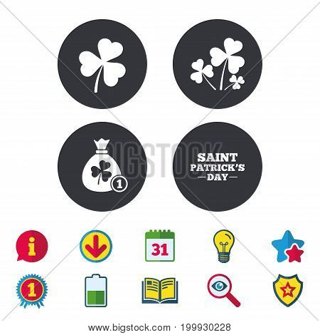 Saint Patrick day icons. Money bag with clover and coin sign. Trefoil shamrock clover. Symbol of good luck. Calendar, Information and Download signs. Stars, Award and Book icons. Vector