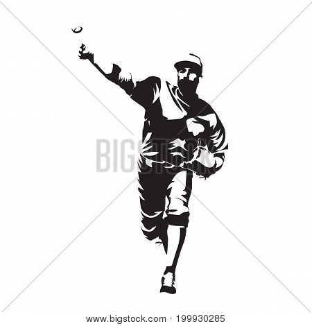 Pitcher throwing ball baseball player abstract vector silhouette