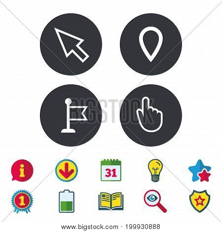 Mouse cursor icon. Hand or Flag pointer symbols. Map location marker sign. Calendar, Information and Download signs. Stars, Award and Book icons. Light bulb, Shield and Search. Vector