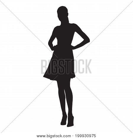 Slim sexy woman with long legs dressed in summer dresses and high heels standing with hands on her hips isolated vector silhouette