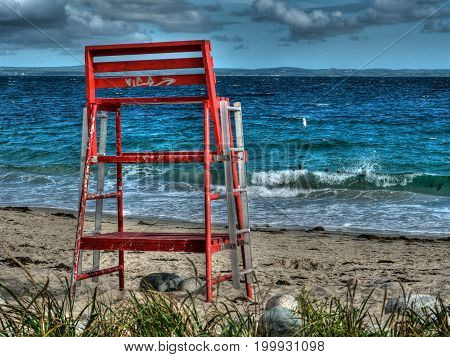 Queensands beach lifeguard watch chair on a summer day