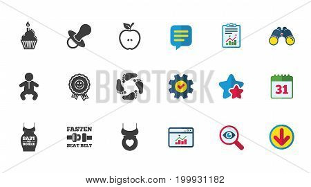 Pregnancy, maternity and baby care icons. Apple, award and pacifier signs. Footprint, birthday cake and newborn symbols. Calendar, Report and Download signs. Stars, Service and Search icons. Vector