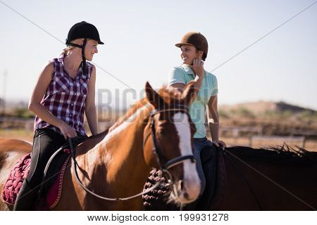 Happy female friends talking while horseback riding on field at paddock