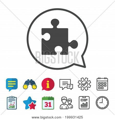 Puzzle piece sign icon. Strategy symbol. Information, Report and Calendar signs. Group, Service and Chat line icons. Vector