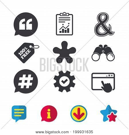 Quote, asterisk footnote icons. Hashtag social media and ampersand symbols. Programming logical operator AND sign. Speech bubble. Browser window, Report and Service signs. Vector