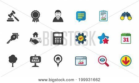 Real estate, auction icons. Handshake, for sale and calculator signs. Key, tree and award medal symbols. Calendar, Report and Download signs. Stars, Service and Search icons. Vector