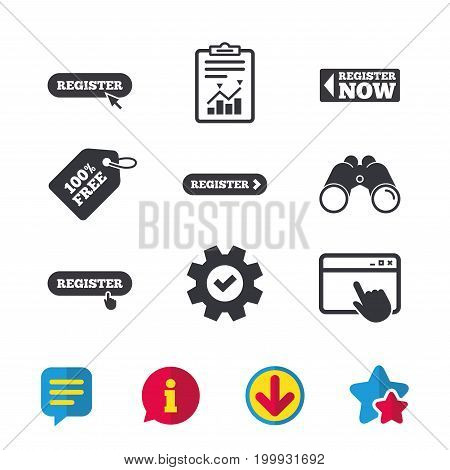 Register with hand pointer icon. Mouse cursor symbol. Membership sign. Browser window, Report and Service signs. Binoculars, Information and Download icons. Stars and Chat. Vector