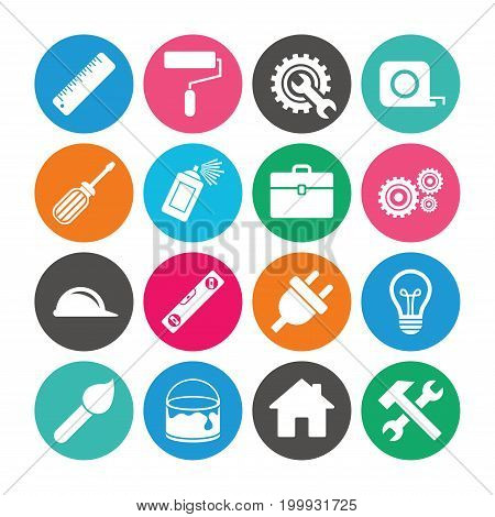 Set of Construction tools, Engineering and Repair icons. Electric plug, Helmet and Screwdriver signs. Lamp, Hammer and Paint symbols. Colored circle buttons with flat signs. Vector