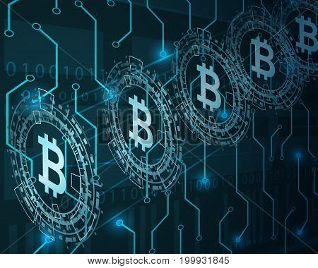 Bitcoin digital currency.Future finance concept. Vector illustration.