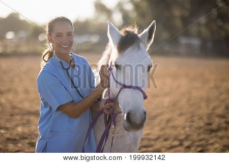 Portrait of smiling female vet examining horse while standing at paddock