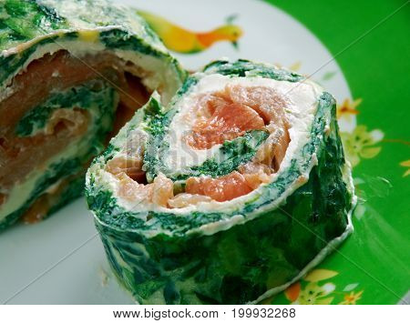 Courgette Herb Smoked Salmon Roulade , close up meal