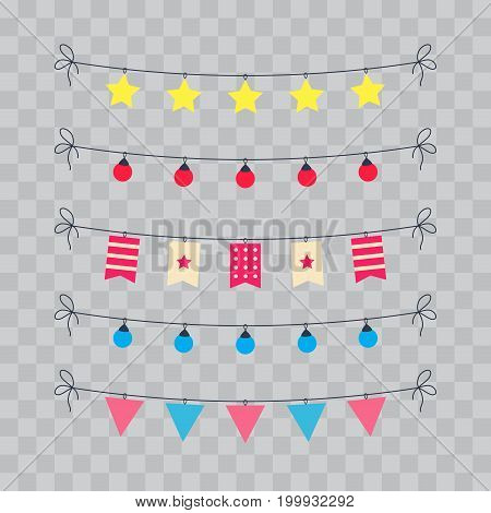 Party And Celebration Design Elements collection. Festive Event and Show icons set. Birthday objects. With carnival masks, petards, fireworks, flags, streamers. Isolated on transparent checkered