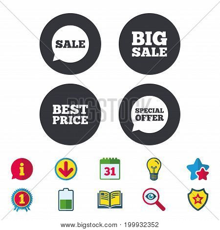 Sale icons. Special offer speech bubbles symbols. Big sale and best price shopping signs. Calendar, Information and Download signs. Stars, Award and Book icons. Light bulb, Shield and Search. Vector