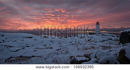 Winter sunset at Peggys Point, Nova Scotia Canada