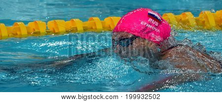 Hong Kong China - Oct 30 2016. Olympian and world champion swimmer Yulia YEFIMOVA (RUS) swimming in the Women's Breaststroke 200m Final. FINA Swimming World Cup Victoria Park Swimming Pool.