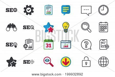 SEO icons. Search Engine Optimization symbols. World globe and mouse or hand cursor pointer signs. Chat, Report and Calendar signs. Stars, Statistics and Download icons. Question, Clock and Globe