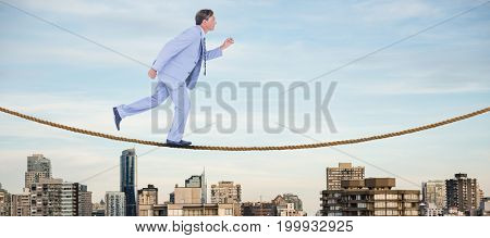 Stepping businessman against trees amidst buildings in city