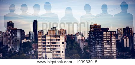 Business people standing over white background against trees amidst buildings in city